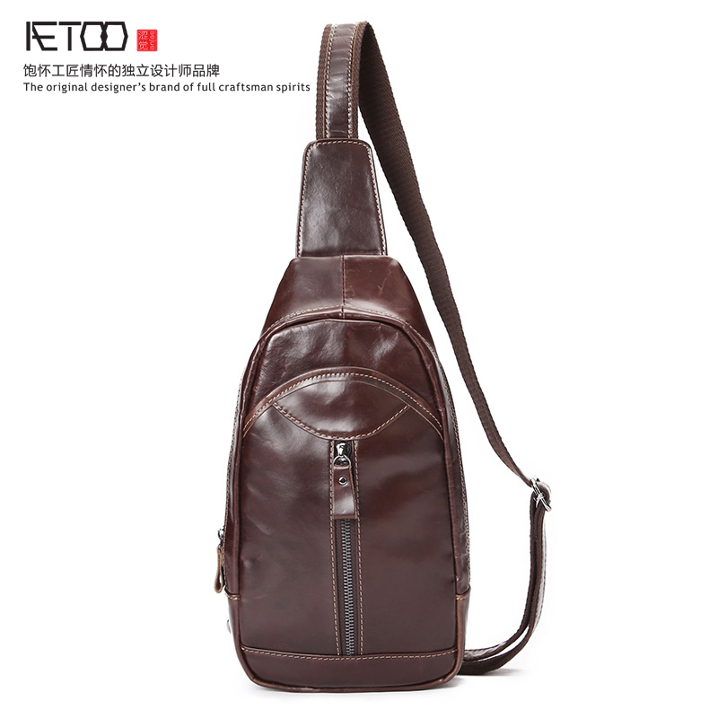 ФОТО AETOO spring and summer new leather chest baby men leisure first layer of oil wax leather Messenger bag retro men bag