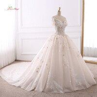 Dream Angel Vestido De Noiva Sweetheart A Line Wedding Dress 2018 Sexy Illusion Short Sleeve Appliques