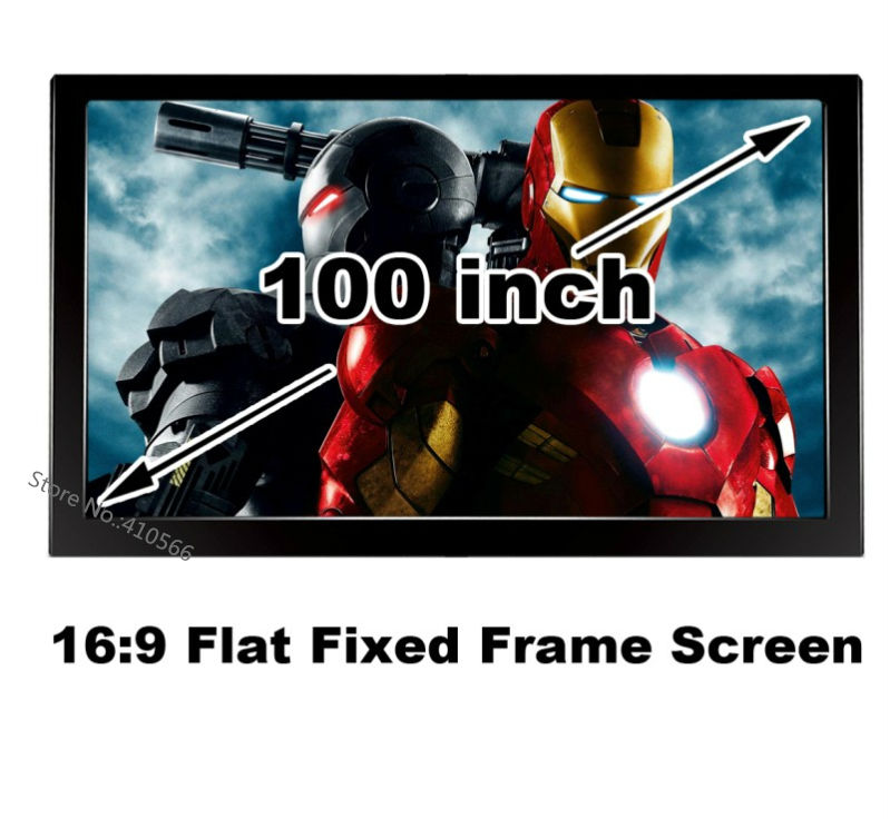 HD 100 Inch Matt White Flat Fixed Frame Front Projection Screen16:9 Format Best For 3D Home Cinema Beamer Fabric good gain cinema projection screen 16 9 curved fixed frame projector screens 120 inch hd matt white suit for 3d cinema display