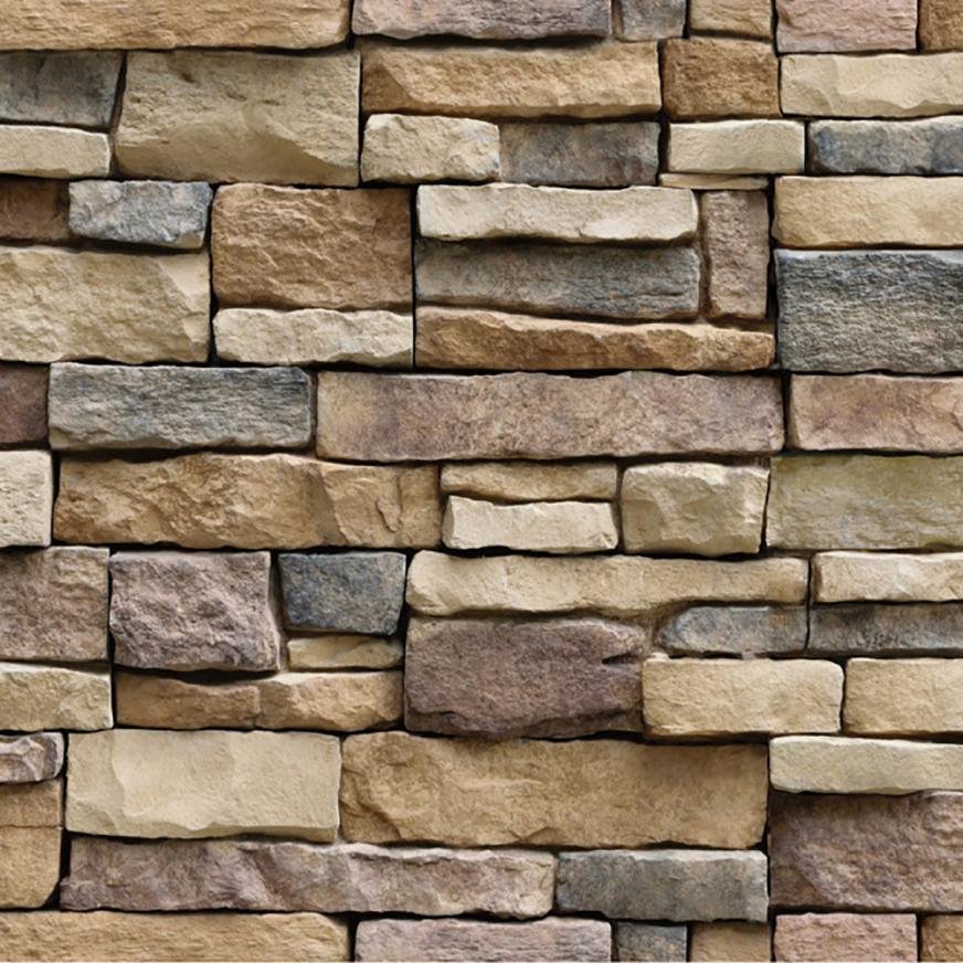 Stickers My House 3D Wall Paper Brick Stone Rustic Effect Self-adhesive Wall Sticker Hom ...