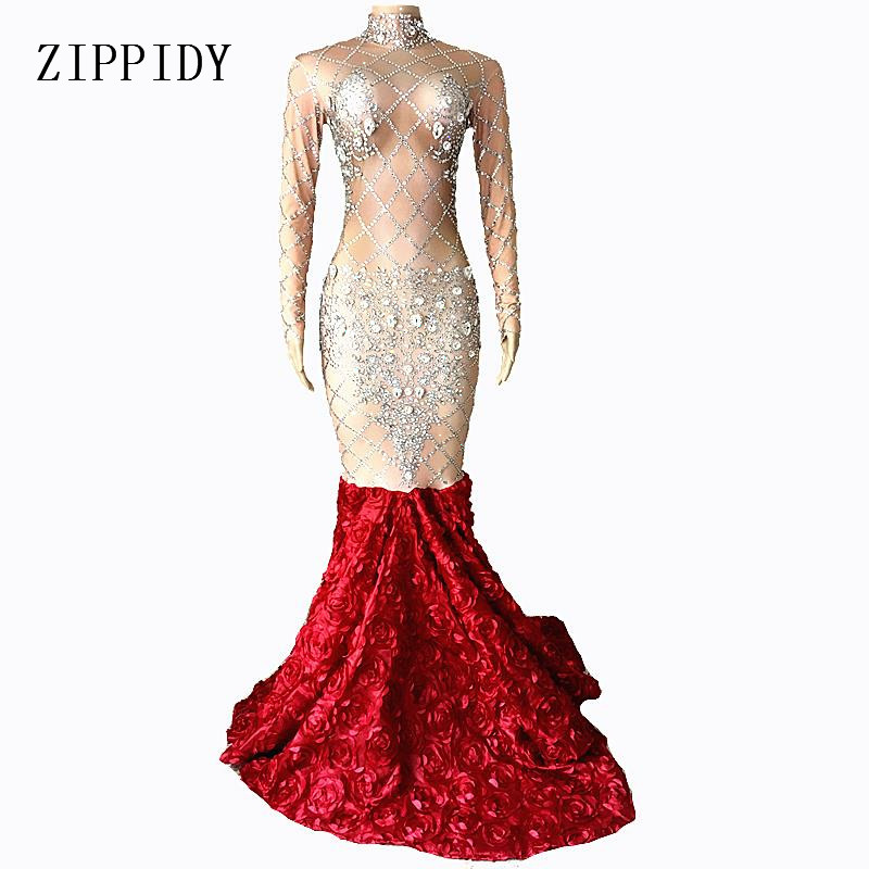 Sparkly Big Crystals Dress Long Train Women Birthday Costume Prom Celebrate Nude Red Flower Tail Dresses