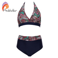Andzhelika Plus Size Swimwear High Waist Swimsuit Deep V Bikini New Vintage Print Floral Bikini Bathing