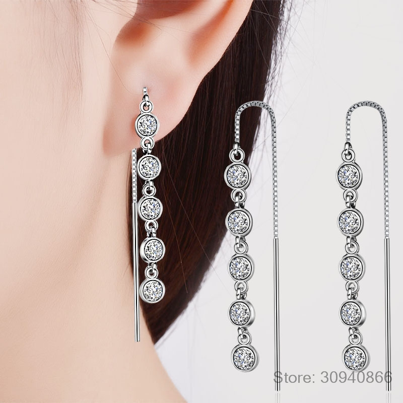 Luxury 925 Sterling Silver Geometric Long Tassel Circle AAA Zirconia Crystal Drop Earrings for Women Sterling Silver Jewelry