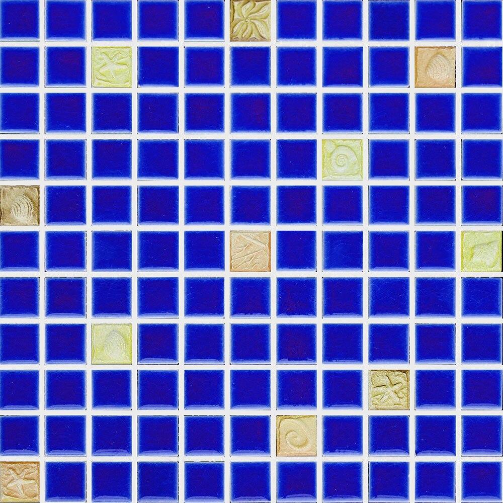 blue ceramic Eastern Mediterranean yellow embossing porcelain mosaic ...