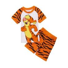 костюм для мальчика и девочки Tigg Костюмы мультфильм детские наборы для одежды Детская летняя пижама Спортивный костюм Top Pants