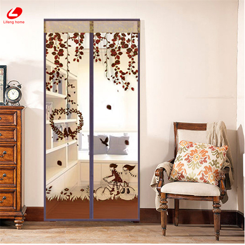 Pressing Magnetic Door Curtain Bike 90*210 Insect Screen Bird&lover Divider Net Fly Bug Anti-Mosquito Mesh Portiere Self-closed