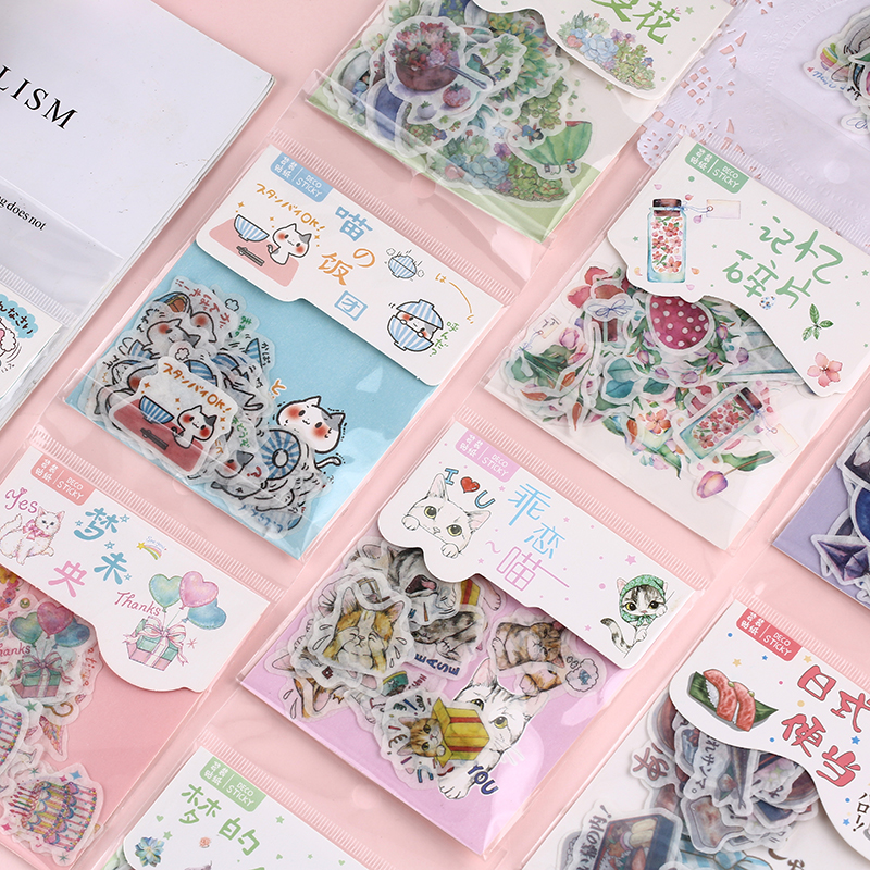 40pcs/pack Kawaii Stationery Sticker Set Pet Succulent Fruit Sticker Label For Scrapbooking Album De