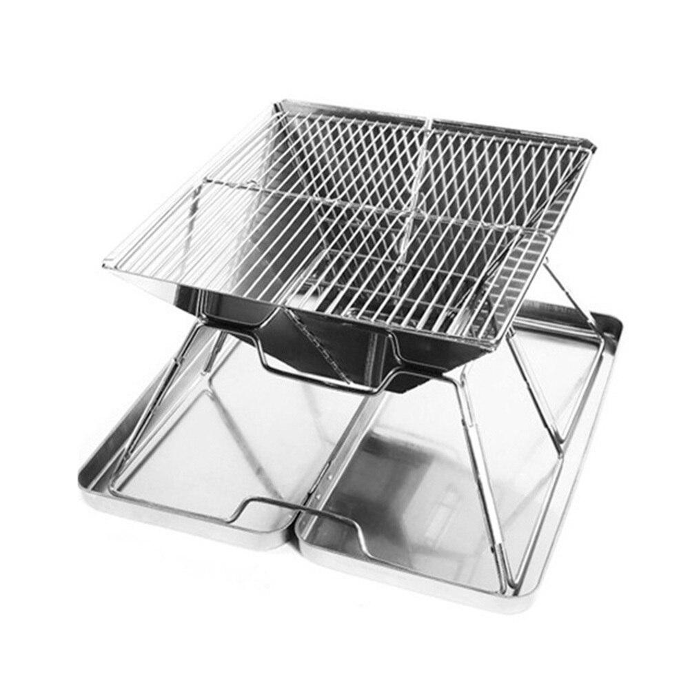 Mini Barbecue en acier inoxydable gril cuisinière four à charbon de bois pliant Portable pour pique-nique Camping en plein air