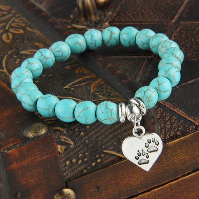 Bespmosp New Vintage Heart Dog Cat Animal Feet Footprint Blue Bead Pendant Bracelet Women Girl Statement Jewelry Gift