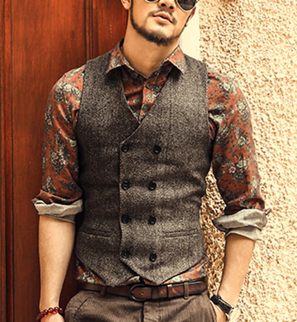 Men's Waistcoat Wool Tweed Slim Fit Leisure Cotton Suit Vest Gentleman Herringbone Pattern Beckham Business Brown Wedding Groom