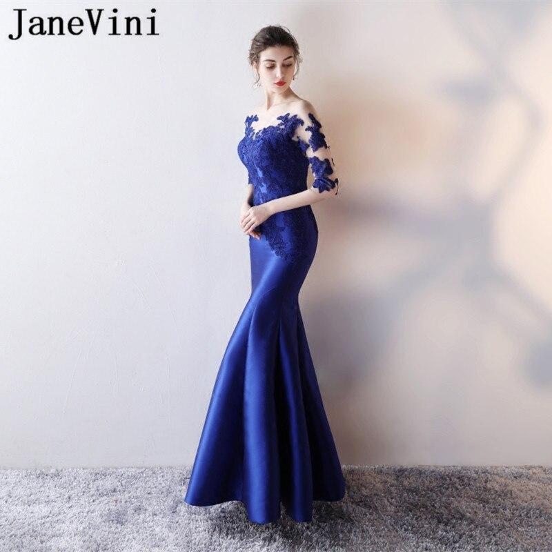 JaneVini Sexy Illusion Royal Blue Lace Mermaid Party   Dress   Long Satin Women Wedding Party   Bridesmaid     Dress   Formal Prom Wear 2018