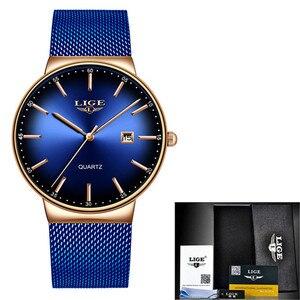 Image 5 - LIGE nowe męskie zegarki Top marka luksusowa modna siatka zegarek na pasku mężczyźni wodoodporny zegarek na rękę analogowy zegar kwarcowy erkek kol saati