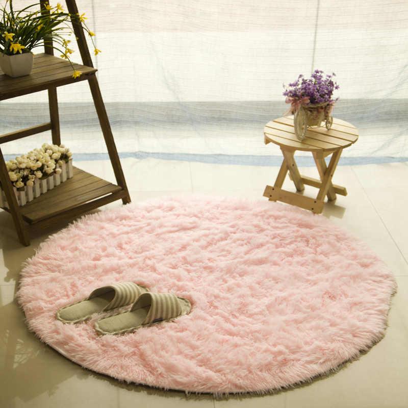 Розовый мягкий пушистый толстый бархатный круглый ковер, Противоскользящий коврик для туалетного пола, коврик для спальни, кухни, коврик для гостиной, коврик для йоги