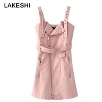 New Fashion Women S Dresses PU Leather Bandage Dress Zipper Sexy Dress Mini Pink Sweet Sundress