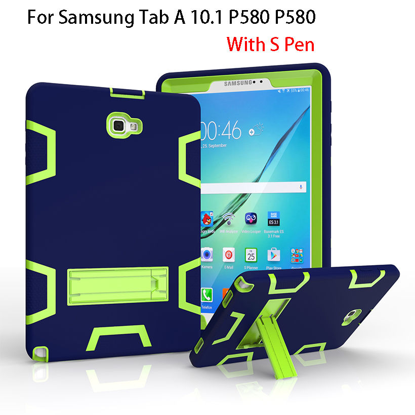 For Samsung Galaxy Tab A A6 10.1 2016 P580 P585 Case Cover Kids Safe Armor Shockproof Heavy Duty Kickstand Tablet Cases Funda tire style tough rugged dual layer hybrid hard kickstand duty armor case for samsung galaxy tab a 10 1 2016 t580 tablet cover