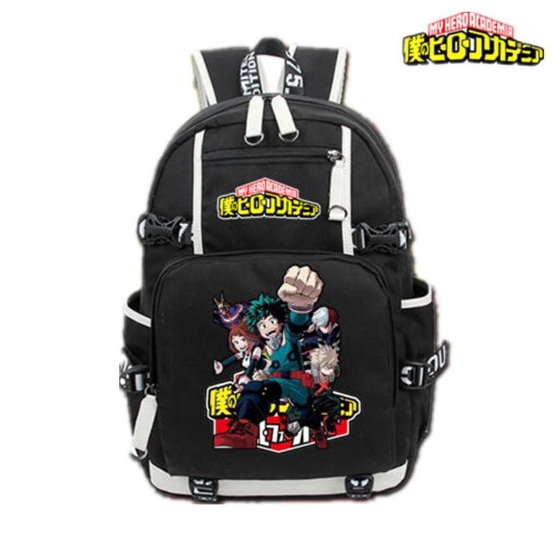 New Mens Black Backpack Anime My Hero Academia Travel Backpack Knapsack Packsack Shoulder Laptop School Bag Student Bookbag Gift