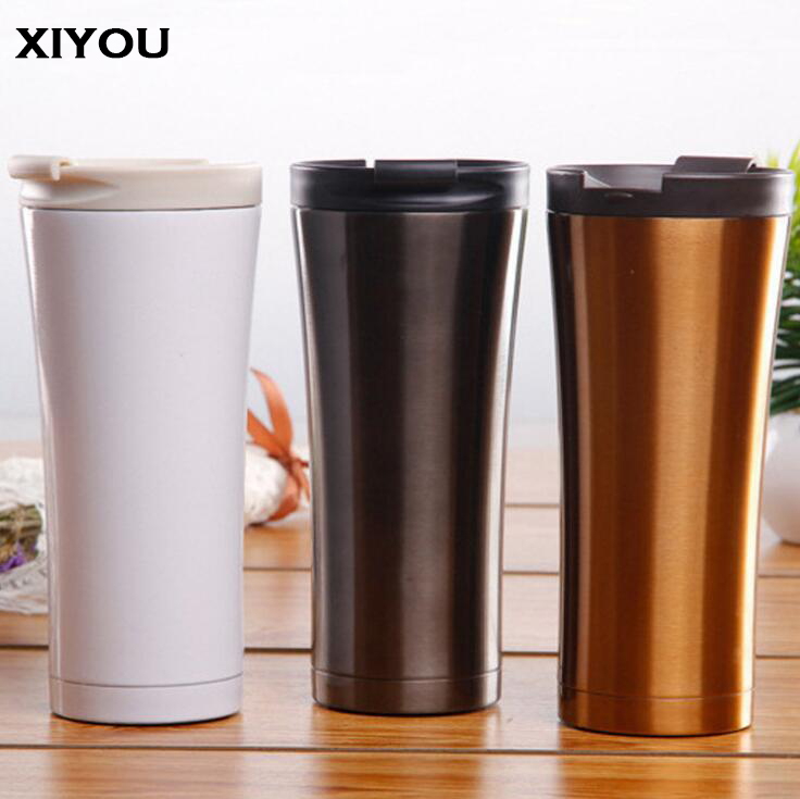 XIYOU Tumbler Cute Insulated Thermos Travel Sports Cup Cafe Coffee Double Walled Vacuum Mug Nice Slim Smart Cup for Car Термос