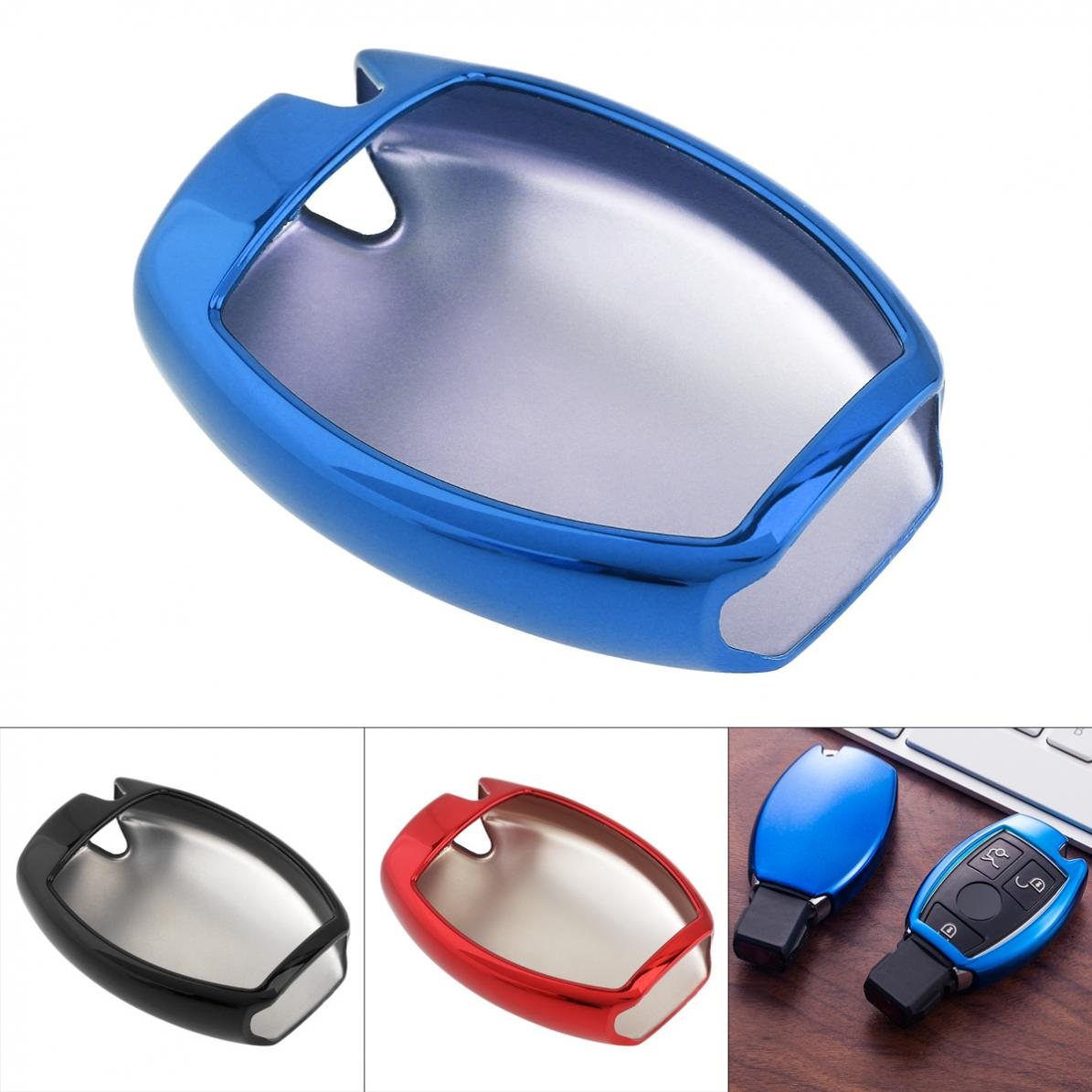 3 Colors Straight Plate TPU Car Key Case Protector Holder for Mercedes Benz A B R G Class GLK GLA W204 W251 W463 W176 image