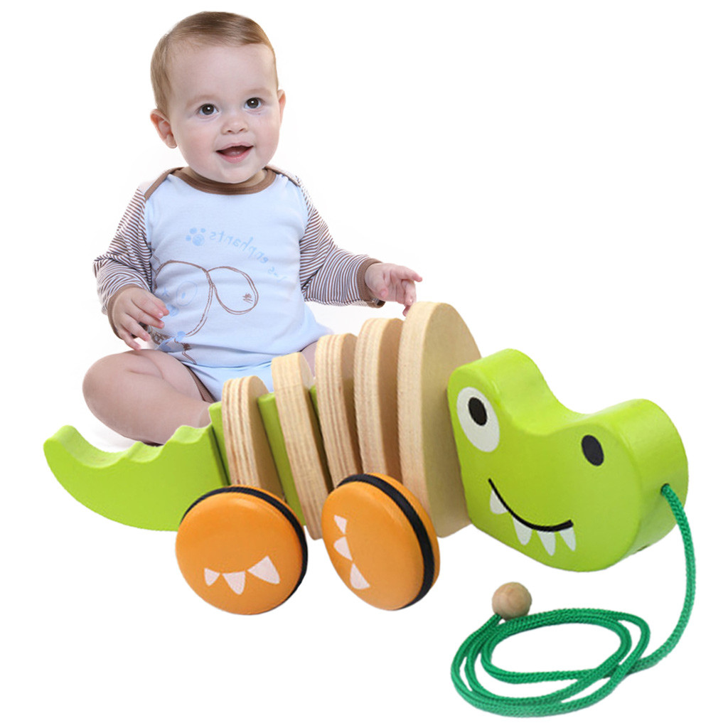 Wooden Pull Toys For 1 Year Old Alligator Push Toy For Toddler Toys New Arrival Dropshipping
