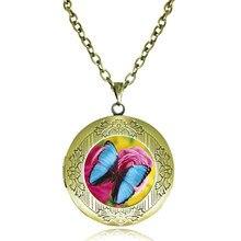 ca8140c955f7 Joyería de mariposa azul memoria locket collar de vidrio cabochon colgante  animal Rosa gargantilla bronce neckless mujeres joyer.