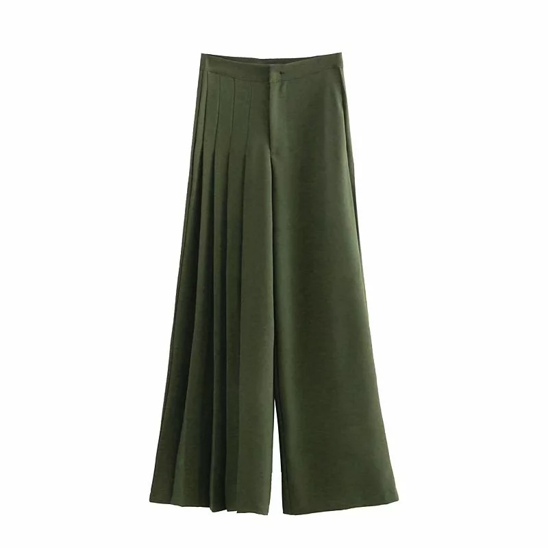Capable 2019 Hot Spring New Arrival Asymmetrical Pleated Wide Leg Pants High Waist Slim Solid Color Casual Loose Pants Women Free Shipp Pants & Capris