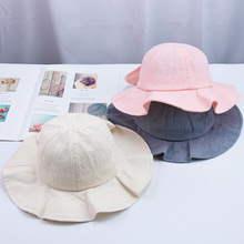 Baby Bucket Beach Cotton Sun Hat Girls Boys Summer Solid Color Cap Protection