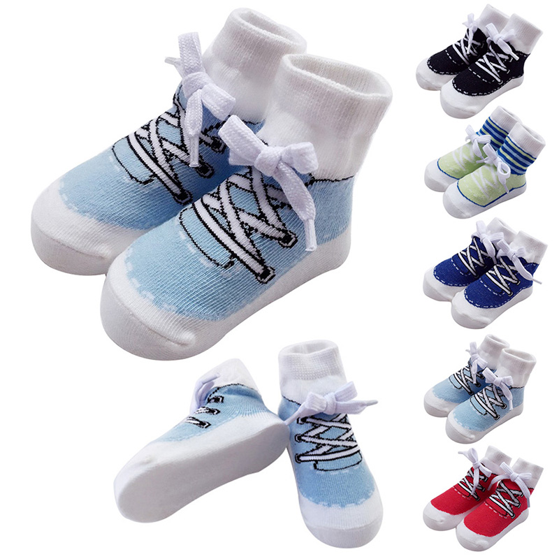 Hot Sale 1pair Baby Socks Baby Boys Sports Style Socks College Wind Cotton Soft Holiday Casual Booties New Style 0-2Y H1