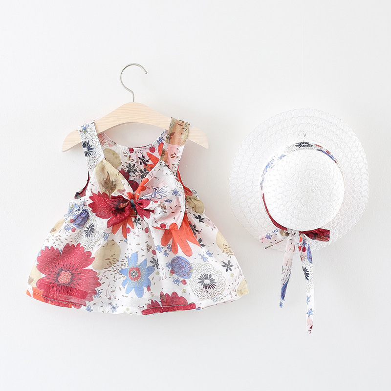 2018 New Cotton Casual Vestido Infantil Baby Dress Baby Girl Summer 0-3 Year Old Sleeveless Vest Knot Knee Length Floral Dress