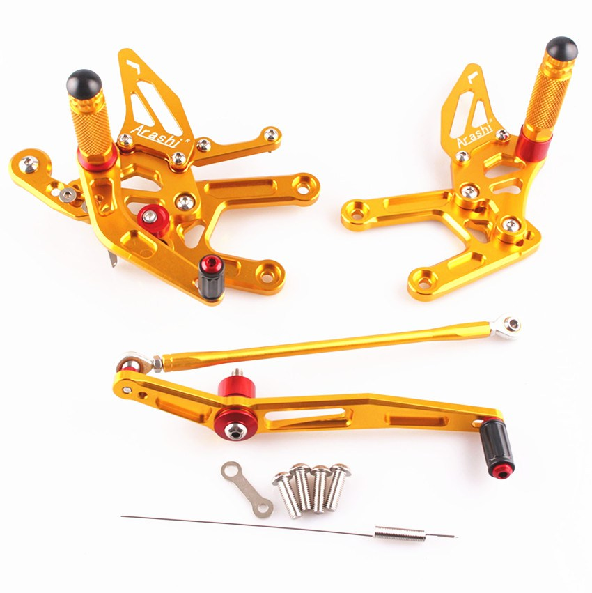 Adjustable Rearset Foot Pegs For Yamaha YZF R6 2008-2011 2009 2010 Motorcycle CNC Aluminum Gold