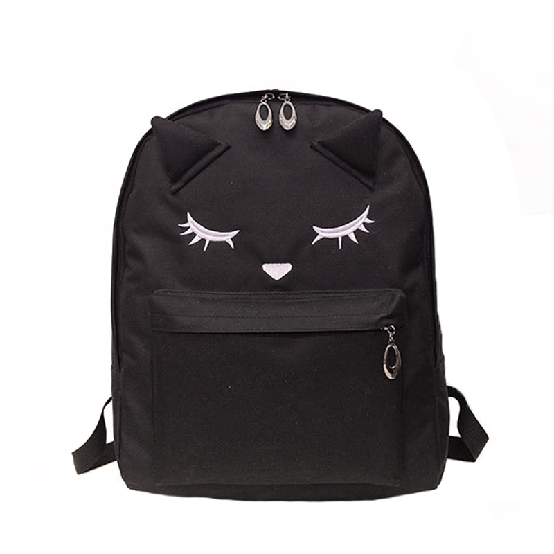 2017 Fashion Cute Cartoon Embroidery Cat Ears Backpack