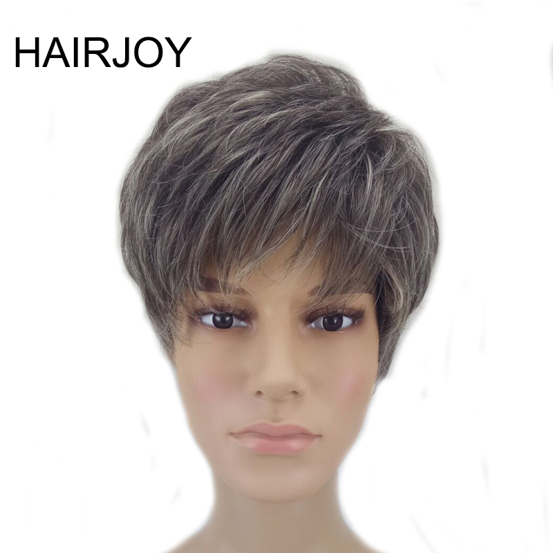 HAIRJOY  Synthetic Hair Grey Brown Mixed Short Cut Straight Pixie Hairstyle Wig  High Temperature Fiber 3 Colors Available