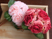 20CM 7 Tea Roses Heads Centerpieces Artificial Silk Camellia Bouquet Wedding Bridal Bouquets Florist Supplies Table