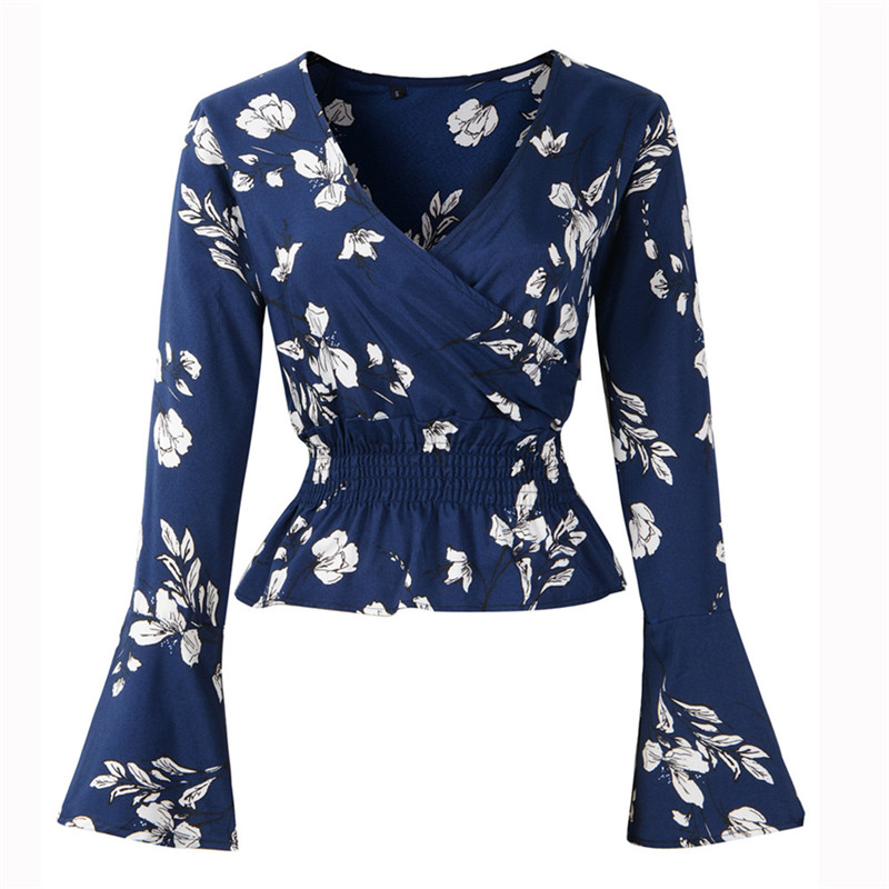 Womens Long Sleeve Floral Print Bell Sleeve Tops   Blouse     Shirt   Ropa Mujer Verano Chemise Femme Blusas Mujer De Moda Camisa #A2