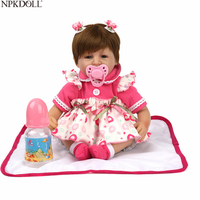 NPKDOLL 16'' Realistic Baby Reborn Doll New Kids Growth Partners Silicone Lifelike Princess Dolls Lovely Gift Girls Brinquedos