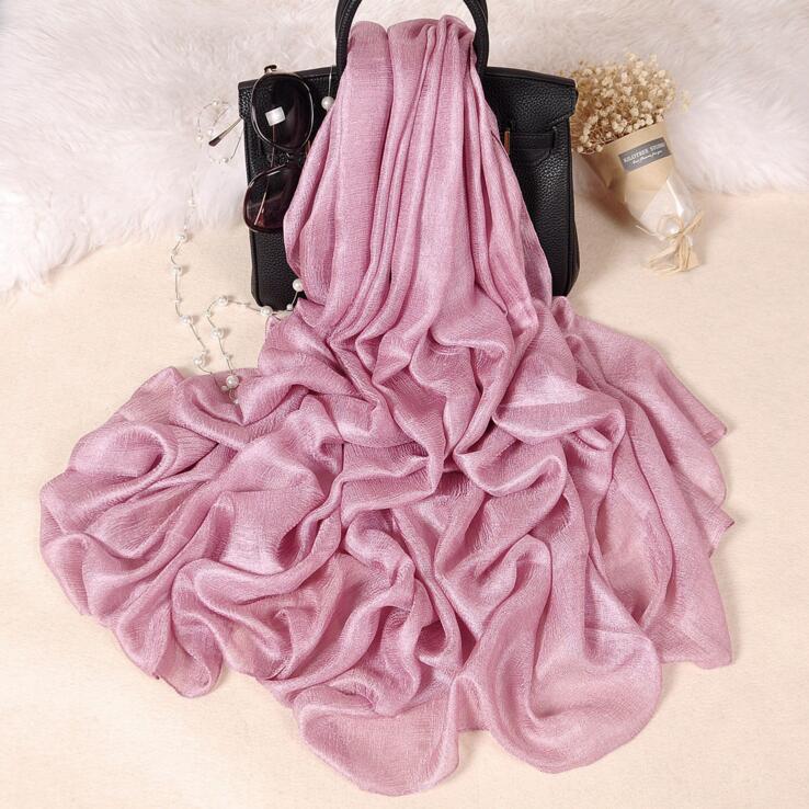 185*100 cm Perla Solido Lino Sciarpa Di Seta Dello Scialle Autunno Inverno Sciarpa Donne Bellissime Sciarpe ordito Foulards Femme