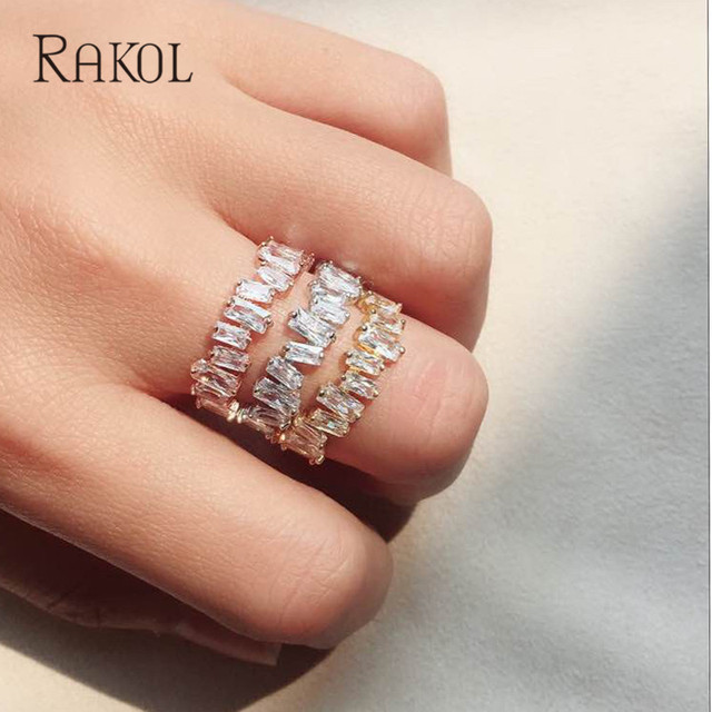 RAKOL Luxury European Style AAA Cubic Zircon Bridal Silver Ring Charms For Women Wedding Finger Jewelry Rose Gold Color