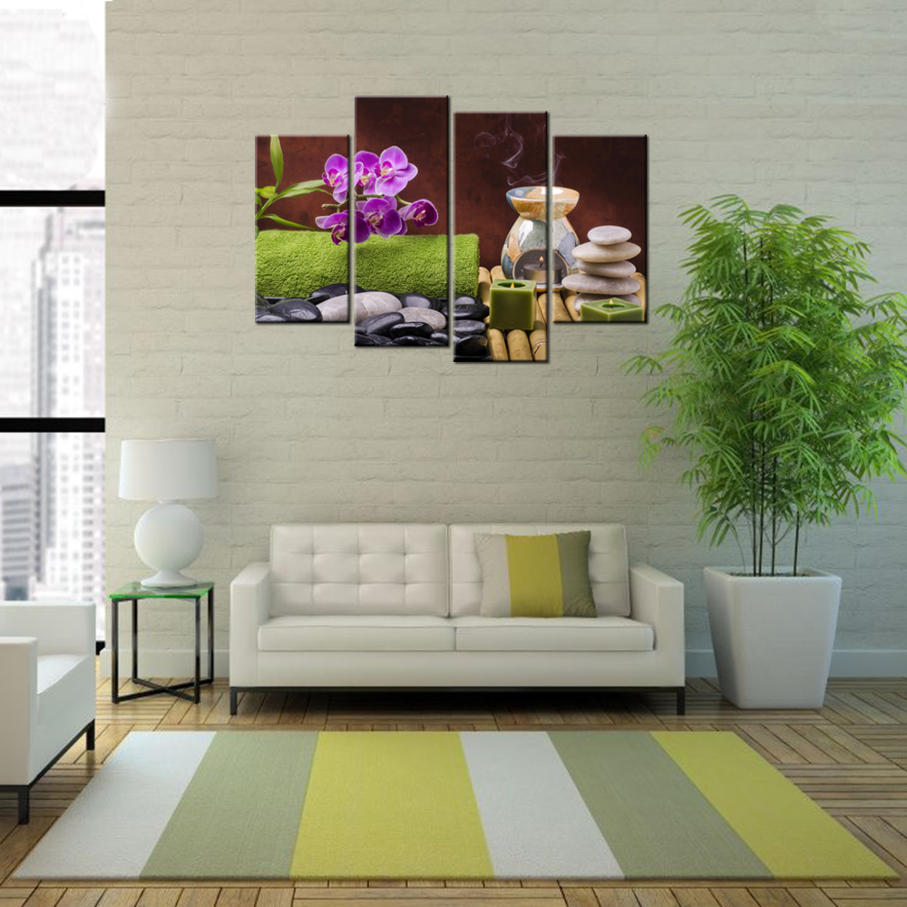 contemporary wall decorations promotionshop for promotional  -  piece contemporary wall decor painting still life with spa orchid zenposter canvas hd pictures modern giclee print artwork