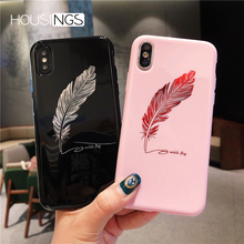Soft TPU Feather Case For iPhone 7 8 Plus XS Max Xs XR Silicone Letter Phone Cases For iPhone X 8 7 6 6S Plus Fashion Back Cover цена