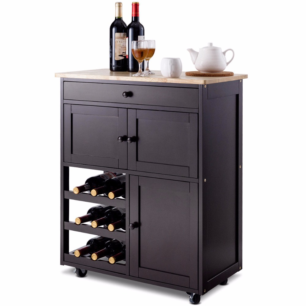 Giantex Modern Rolling Kitchen Cart Trolley Island Storage Cabinet w/Drawer&Wine Rack Dining Room Furniture HW56608BN 4