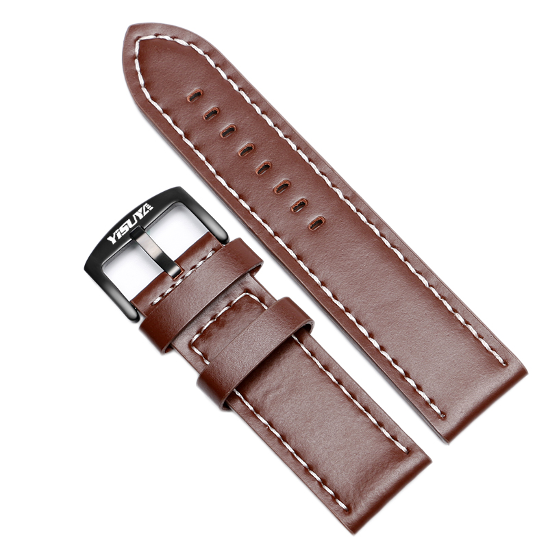 YISUYA 24mm Business Brown Genuine Leather Watch band Luxury Stainless Steel Pin Buckle Smooth Soft Strap Bracelet Replacement survival nylon bracelet brown