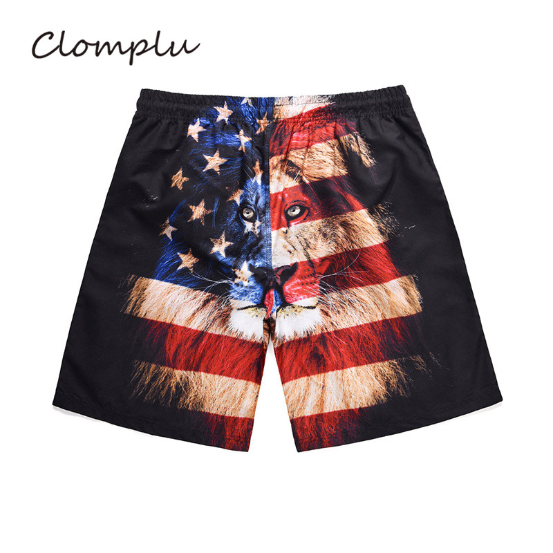 Clomplu USA Shorts American Flag Pattern Swimming Trunks Men's Swimming Shorts Lion Printed Beach Swimsuit for Men image