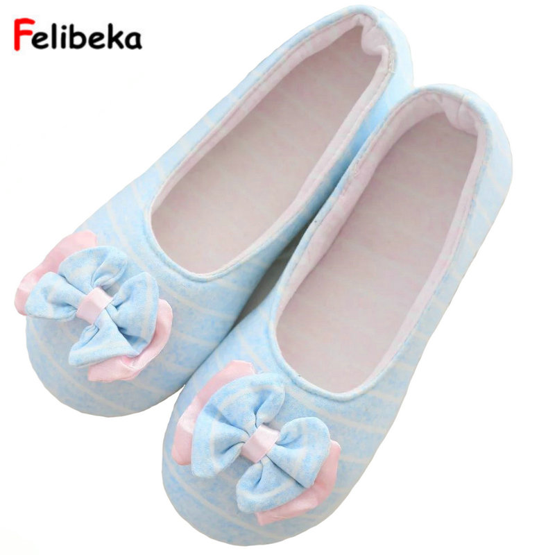 Drop shipping Flock Bow Slippers Home Spring/autumn Sides Indoor Breathable House Women stripe Shoes blue/gray/pink embroider flock indoor slippers winter home furry fuzzy womens house with fur mules women bow plush flat shoes feathers s170