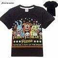 Meninos T-shirt 2016 moda Verão Novo Dos Desenhos Animados Crianças Tops cinco noites em Roupas Para O miúdo Tees 5 freddys freddy topos