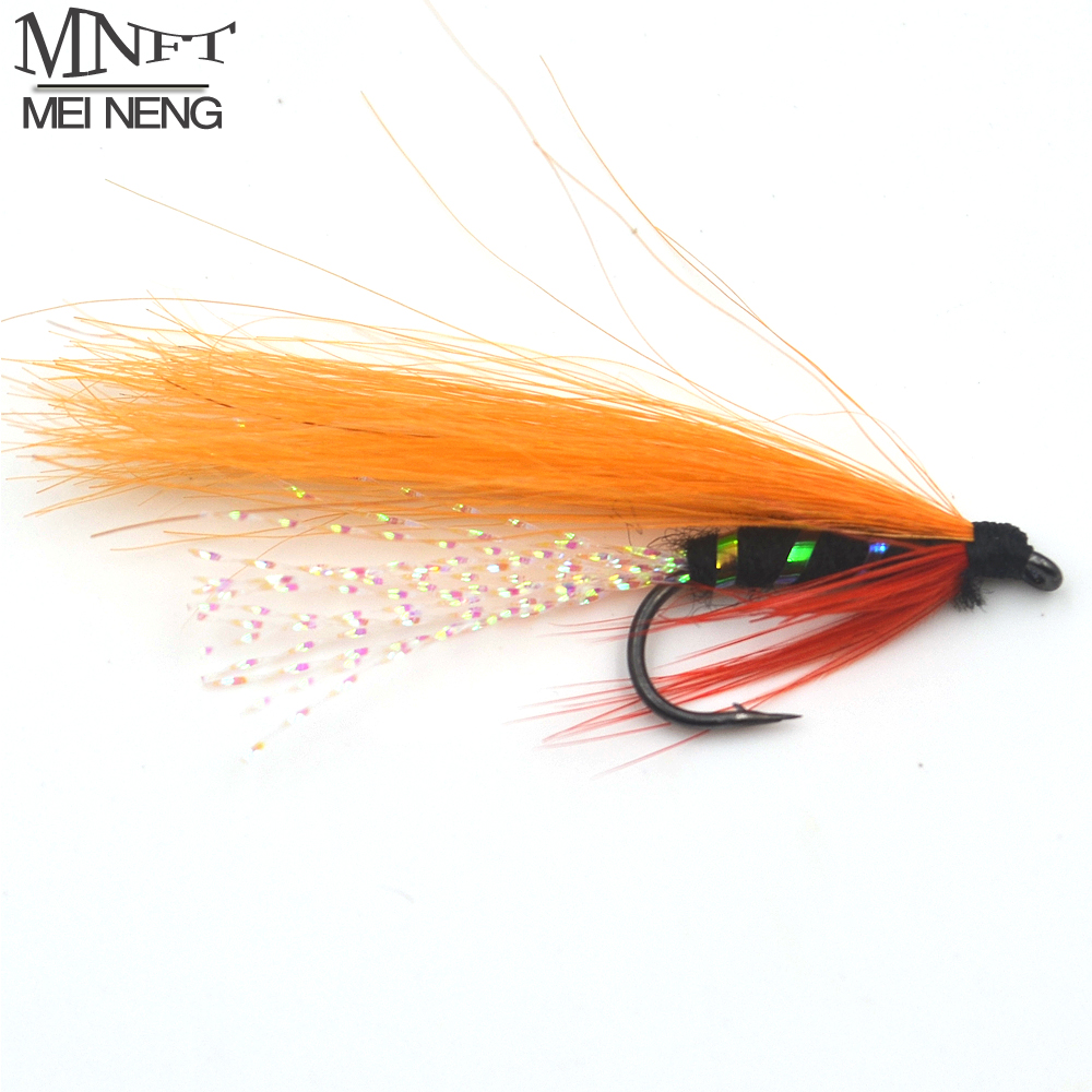 MNFT 10PCS 7# Orange Color Red Fin Blue Body Flashabou Minnow Streamer Fly Holographic Body Wet Fly Fishing Lure Artificial bait mnft 10pcs 6 brown color deer hair gold body muddler minnow fly bass fishing lure steamers trout streamer flies