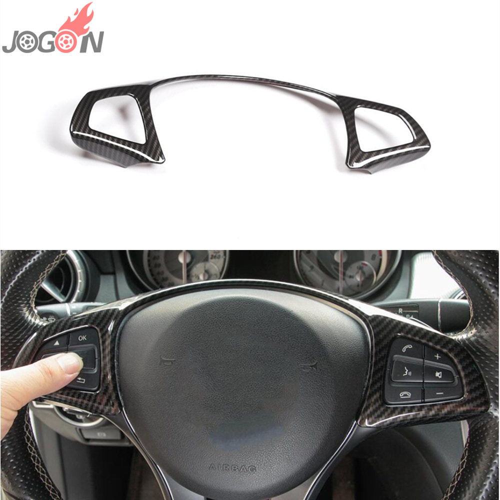 Carbon Fiber Look Steering Wheel Decoration Frame Trim For Mercedes Benz C E GLC Class W213 W205 2015 2017