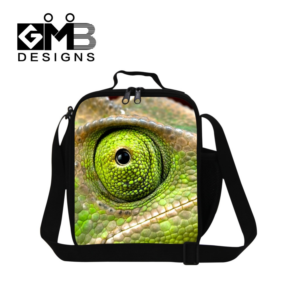 lizard 3D Printed Insulated lunch cooler bag for children school animal Lunch Container for adult office messenger meal bag kids