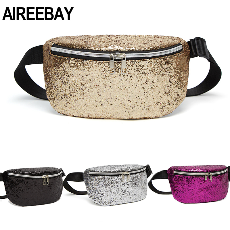 AIREEBAY Sequins Waist Bags Women Belt Bags Gold Fanny Packs Phone Zipper Waist Pouch 2019 New Japan Style Bum Bag