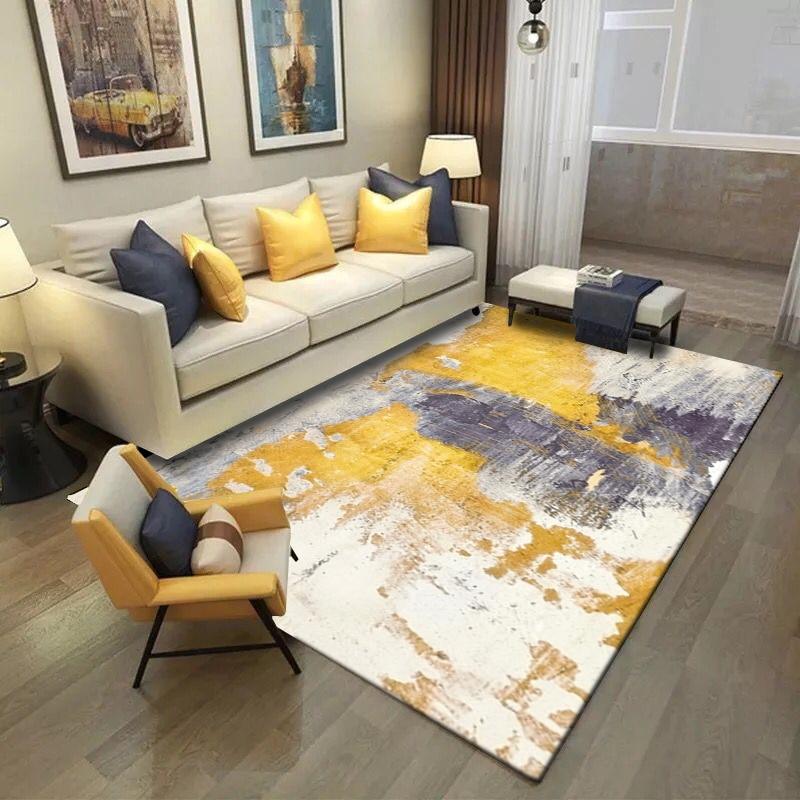 Fashion Modern Abstract Artistic Yellow Grey Painting Door Bathroom Kitchen Mat Living Room Bedroom Decorative Carpet Area Rug