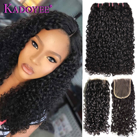 Малайзийские волосы Weave 3 + 1 Связки с синтетическое закрытие шнурка волос Pissy Curl Pixie Flexi вьющиеся волосы Remy пряди человеческих волос для наращ