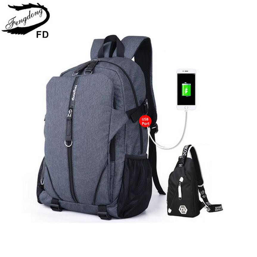 FengDong 2pcs set men computer backpack usb port chest bag male large travel backpack college bags school backpacks for boys  fengdong men backpack oxford youth fashion brand usb charge designer back pack college bags school bag waterproof backpacks male
